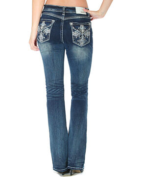 Grace in LA Women's Cross Flap Pockets Jeans - Boot Cut, Indigo, hi-res