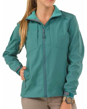 5.11 Tactical Women's Sierra Softshell Jacket, Teal, hi-res