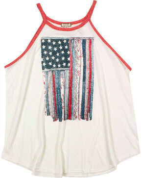 Eyeshadow Women's Mixed Pattern American Flag Graphic Tank - Plus, Ivory, hi-res
