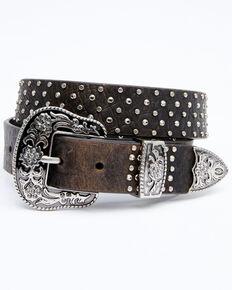 Shyanne Women's Dark Brown Stone Studded Belt, Dark Brown, hi-res