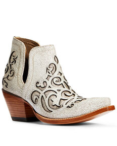 Ariat Women's Crackled White GLitter Dixon Fashion Booties - Snip Toe, White, hi-res