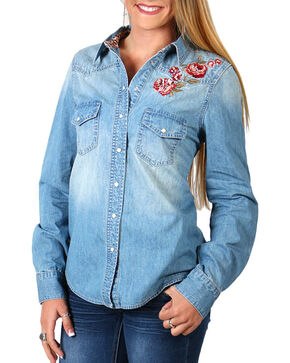 Shyanne Women's Rose Embroidered Denim Shirt , Blue, hi-res