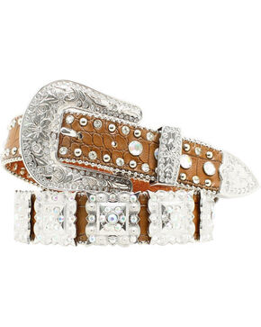 Nocona Women's Brown Croc Embellished Belt, Brown, hi-res