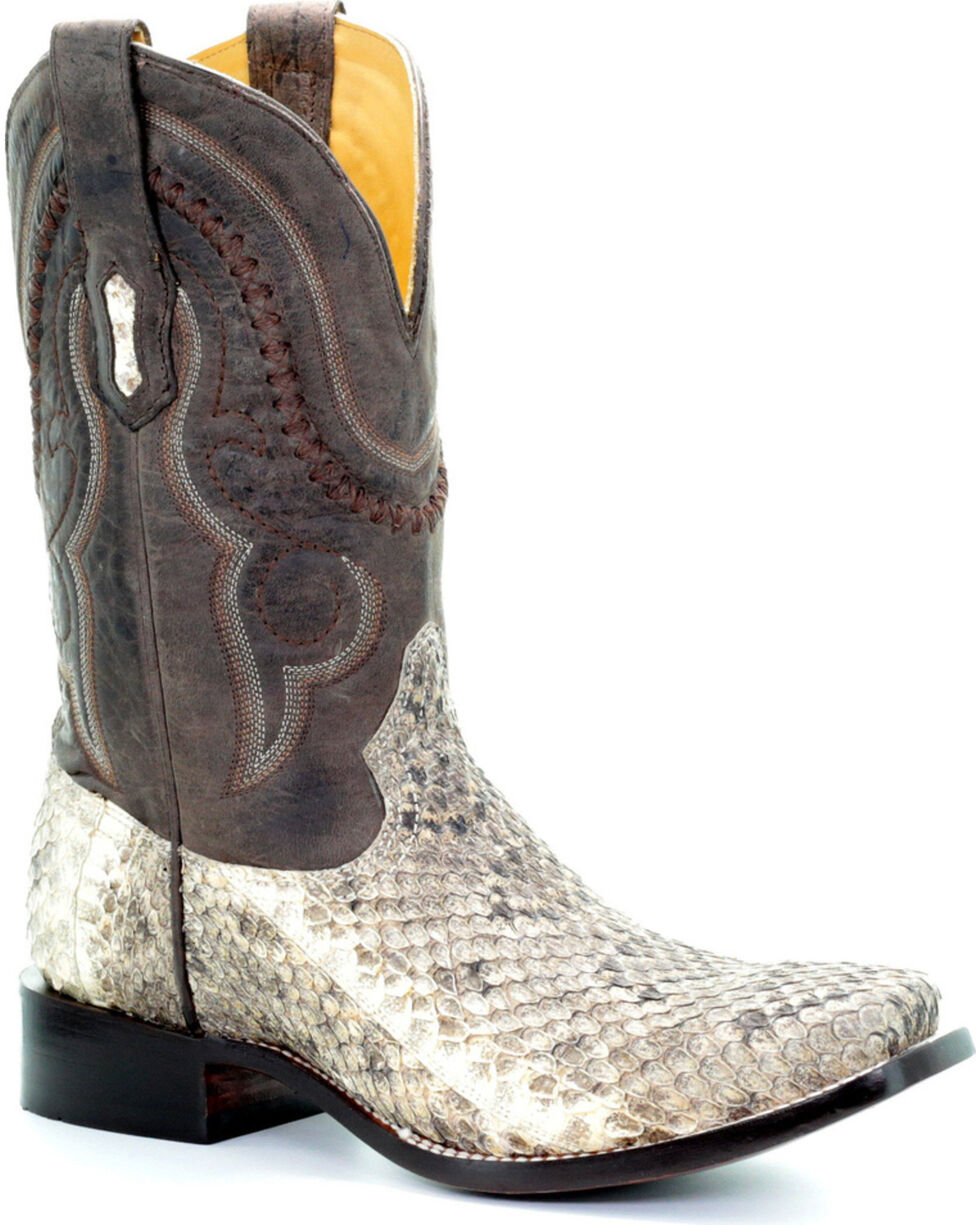 Corral Men's Natural Rattle Snake Cowboy Boots - Square Toe, Natural, hi-res