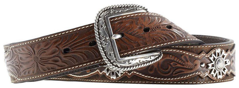 Ariat West Rowel Concho Tooled Belt, Brown, hi-res