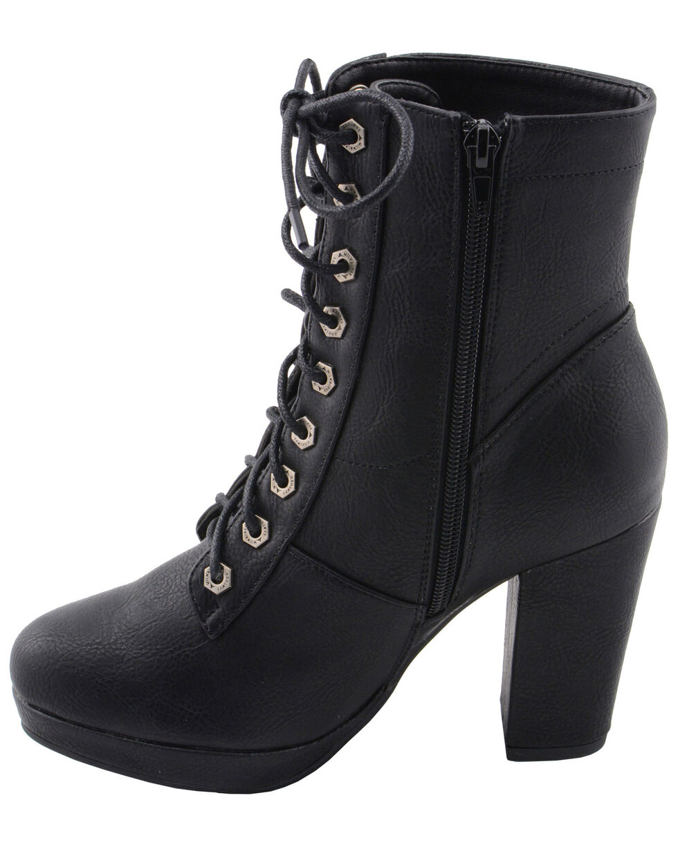 Milwaukee Leather Women's Lace Toe Toe Platform Boots - Round Toe, Black, hi-res