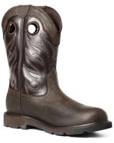 Ariat Men's Groundwork Western Work Boots - Soft Toe, Brown, hi-res