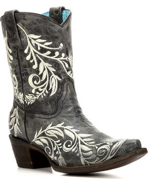 Corral Women's Cowhide Contrast Embroidery Short Boots - Snip Toe , Black, hi-res