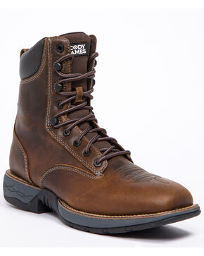 Cody James Men's Xero Lite Lacer Western Boots - Wide Square Toe, Dark Brown, hi-res
