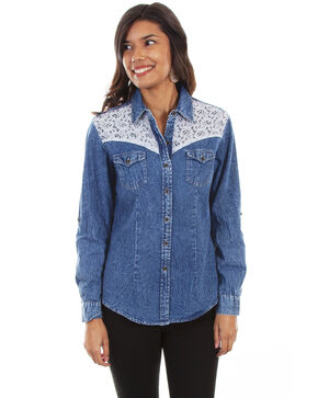 Honey Creek by Scully Women's Denim Lace Long Sleeve Western Top, Blue, hi-res