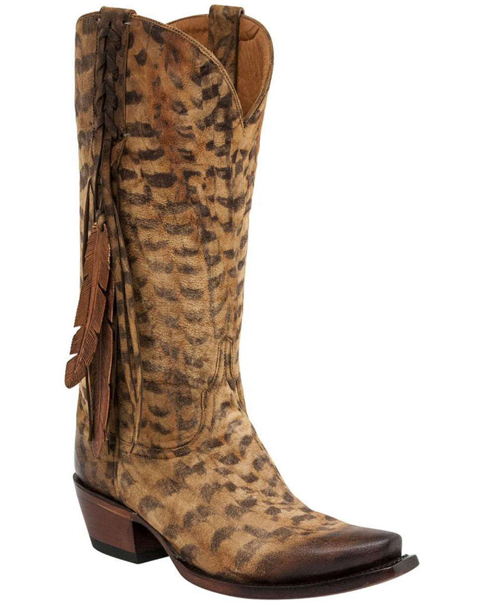 Lucchese Tori Hand Tooled Feather Cowgirl Boots - Snip Toe, Tan, hi-res