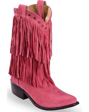 Shyanne Girls' Pink Double Fringe Western Boots - Snip Toe , Pink, hi-res