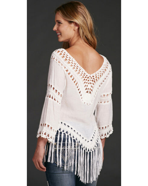 Cowgirl Up Women's Fringe Top , White, hi-res