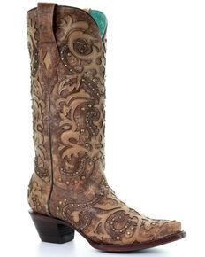 Corral Women's Paula Brown Western Boots - Snip Toe, Cognac, hi-res
