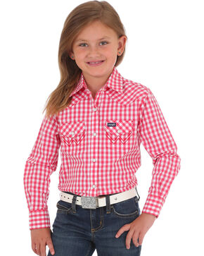 Wrangler Girls' Red Gingham Print Long Sleeve Shirt , Red, hi-res