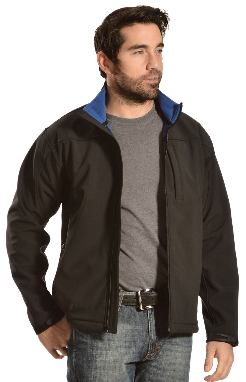 Red Ranch Men's Brown Softshell Western Jacket, Black, hi-res