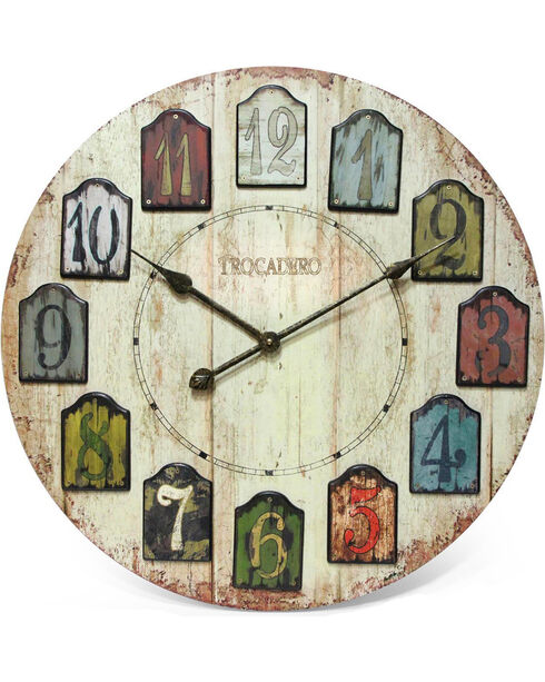 """Infinity Instruments 24"""" Weathered Plank Wall Clock, Multi, hi-res"""