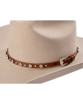Faux Leather Rhinestone & Studded Hat Band, Brown, hi-res