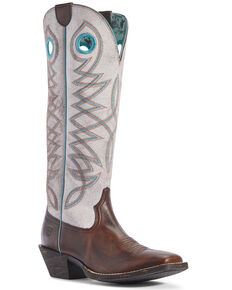 Ariat Women's Round Up Buckaroo Western Boots - Square Toe, Brown, hi-res