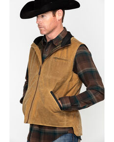 Outback Trading Co. Men's Sawbuck Flannel Lined Oilskin Vest, Tan, hi-res
