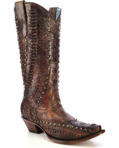 Corral Women's Studded Woven Cowgirl Boots - Snip Toe, Cognac, hi-res