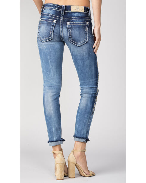 Miss Me Women's Side Embroidery Cuff Ankle Jeans - Skinny, Indigo, hi-res