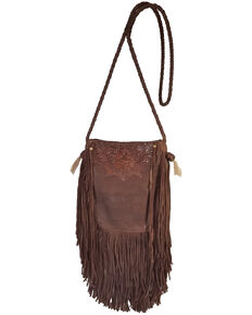 Kobler Leather Women's Brown Tooled Pouch Crossbody Bag, Dark Brown, hi-res