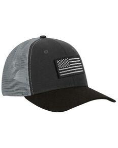 Dri-Duck Men's Charcoal Americana Hudson Mesh-Back Trucker Cap , Grey, hi-res