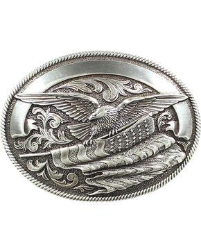Nocona Bald Eagle & American Flag Buckle, Silver, hi-res