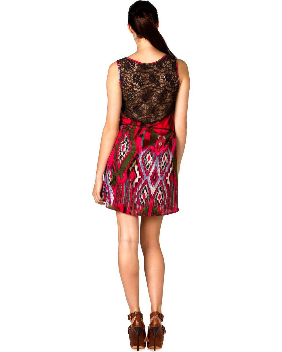 Miss Me Women's Vibrant Tribal Dress , Fuchsia, hi-res