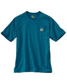 Carhartt Men's Ocean Blue Heather Pocket Short Sleeve Work T-Shirt - Tall, Heather Blue, hi-res