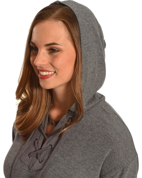 Derek Heart Women's Lace Up Hoodie, Grey, hi-res