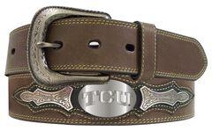 TCU Concho Overlay College Belt, Brown, hi-res