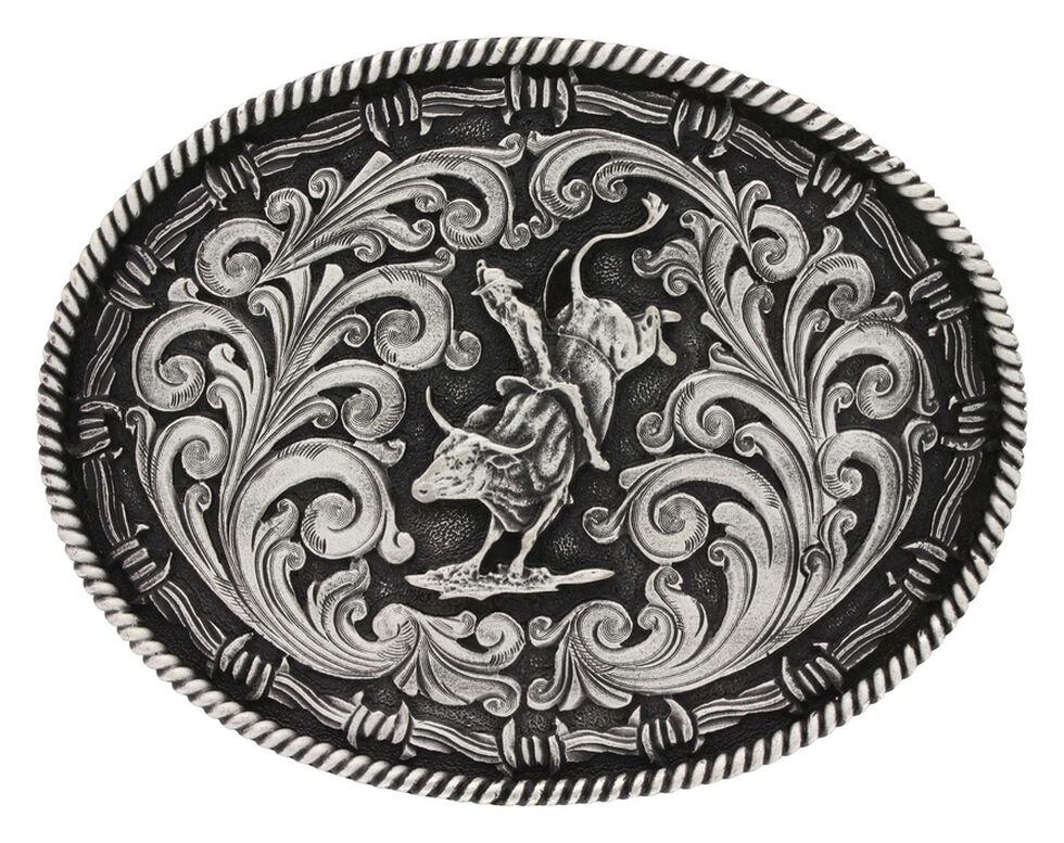 Montana Silversmiths Classic Impressions Bucking Bull Attitude Belt Buckle, Silver, hi-res