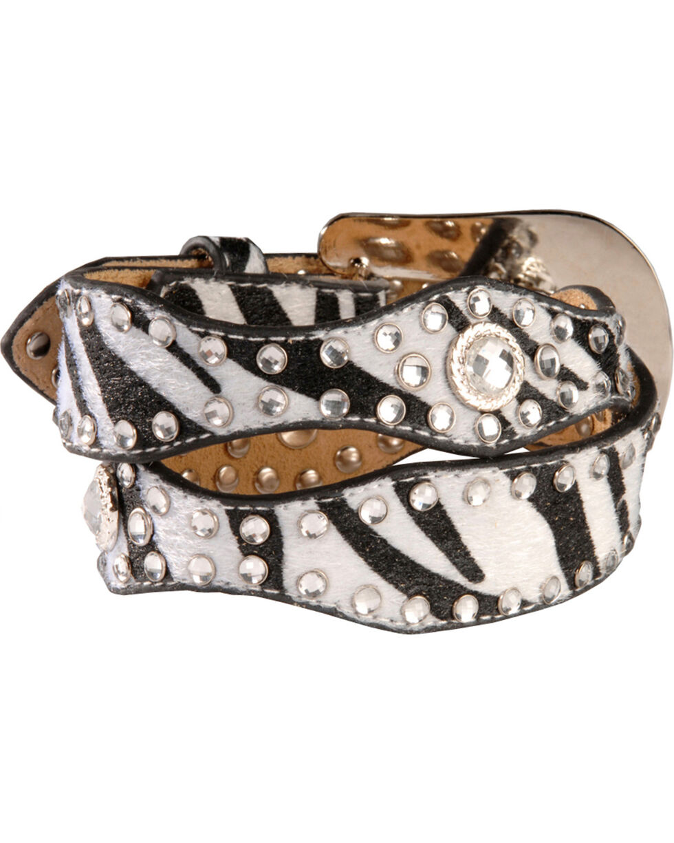 Nocona Girls Zebra Print Hair-On-Hide Leather Belt - 20-26, Blk/white, hi-res