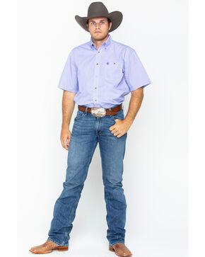 Wrangler George Strait Men's Purple Print Short Sleeve Button Down Shirt, Purple, hi-res