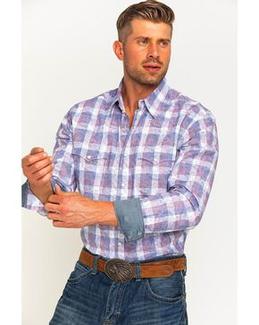 Wrangler Men's Navy Retro Premium Western Shirt , Navy, hi-res