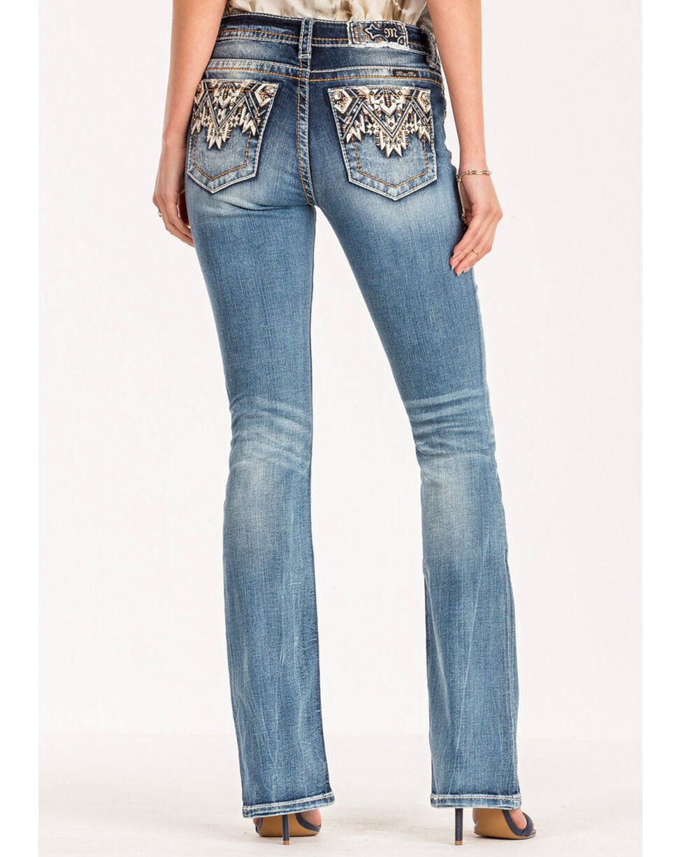 Miss Me Women's Come Together Mid Rise Boot Cut Jeans, Blue, hi-res