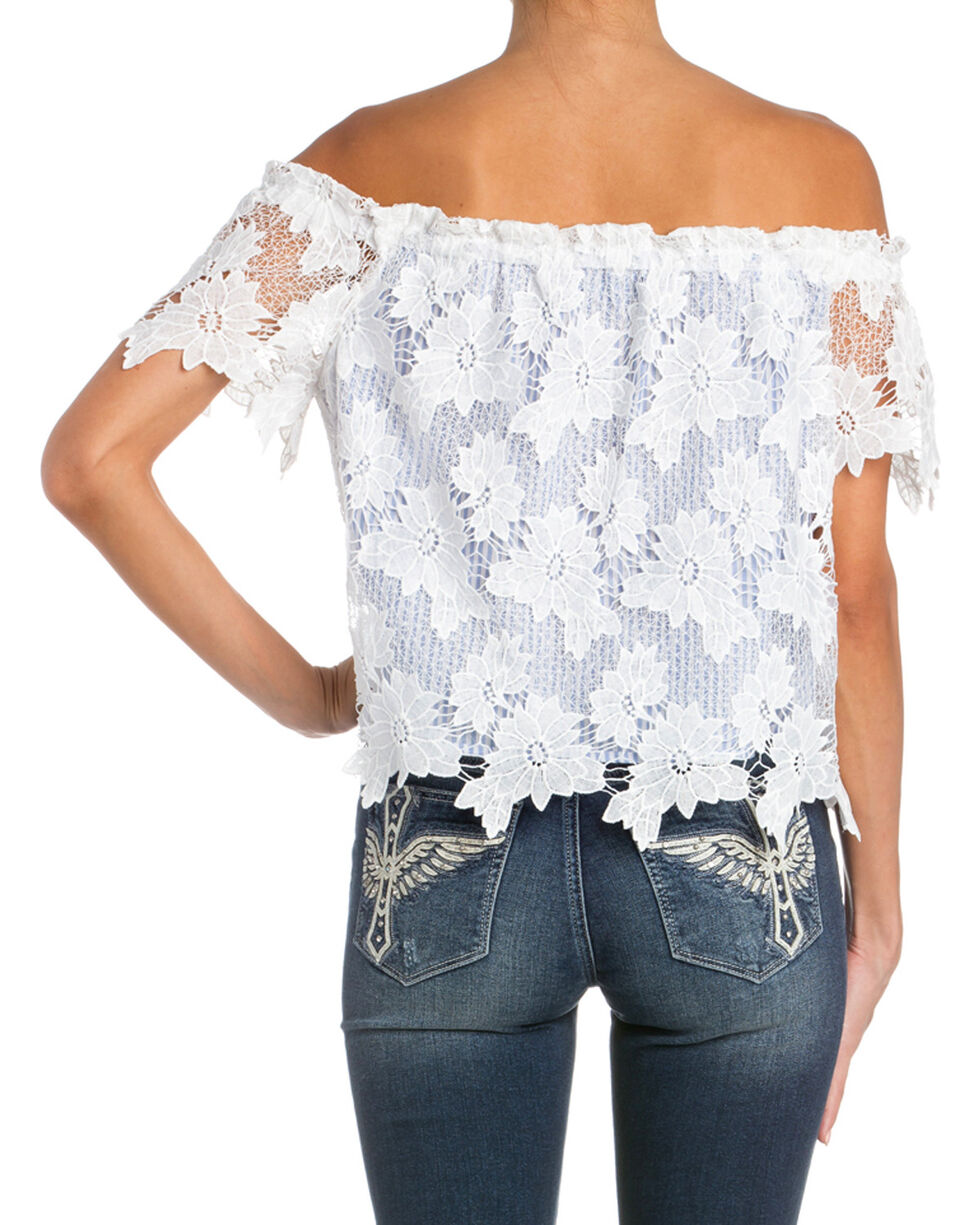 Miss Me Women's Striped Floral Lace Off-The-Shoulder Top , White, hi-res