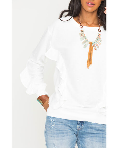Miss Me Women's White Free Falling Pullover Top , White, hi-res