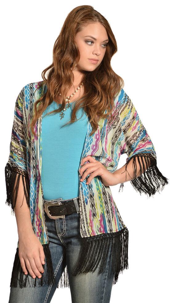 Wrangler Rock 47 Women's Multicolor Tribal Fringe Kimono Cardigan, , hi-res