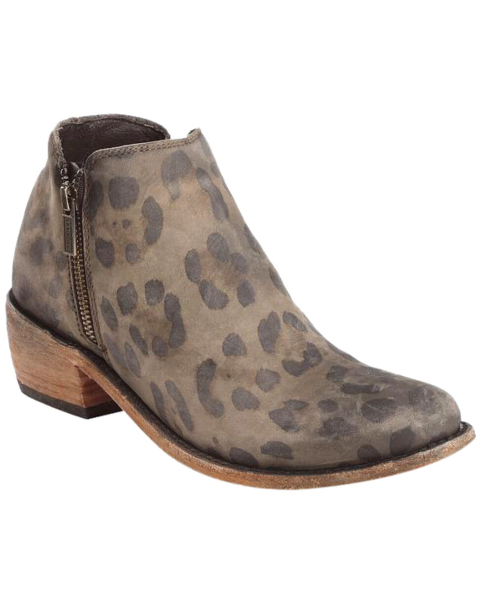 Liberty Black Women's Brown Cheetah Double Zip Booties - Round Toe , Brown, hi-res