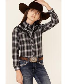 Roper Girls' Black Plaid Fancy Applique Yoke Long Sleeve Snap Western Shirt , Black, hi-res