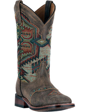 Laredo Women's Taupe with Aztec Top Boots - Square Toe , Taupe, hi-res