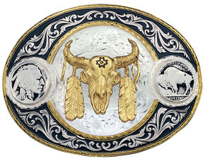 Montana Silversmiths Buffalo Nickel & Ceremonial Skull Western Belt Buckle, Multi, hi-res