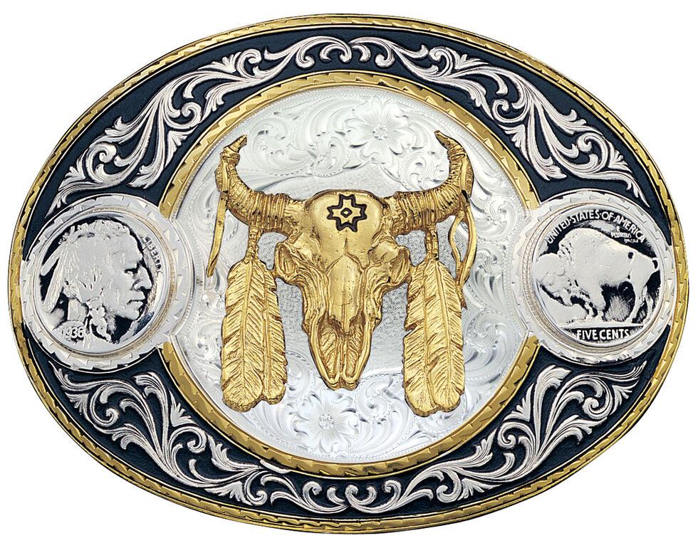 Montana Silversmiths Buffalo Nickel & Ceremonial Skull Western Belt Buckle, Multi, hi-res