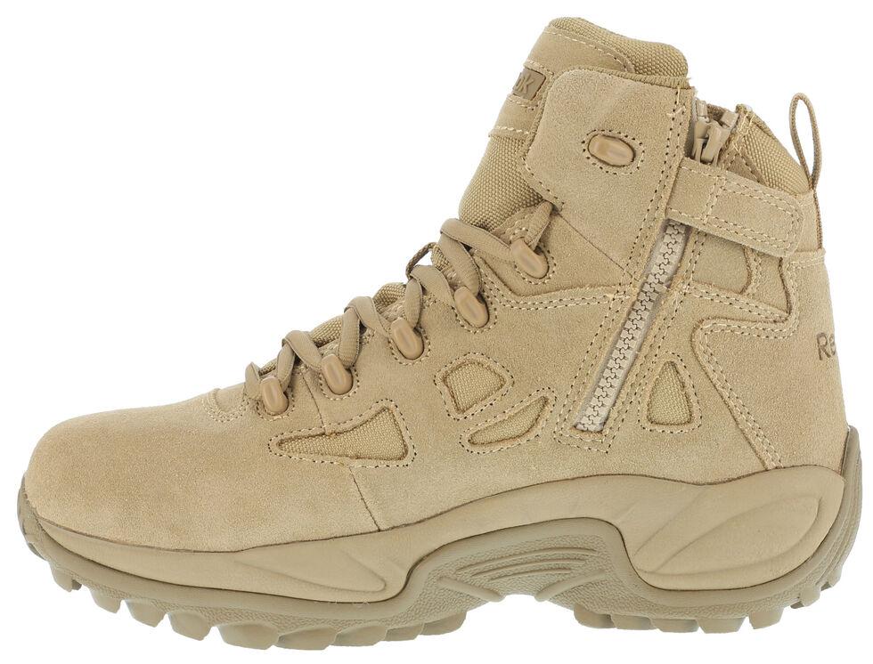 "Reebok Men's Stealth 6"" Lace-Up Side Zip Work Boots - Soft Toe, Desert Khaki, hi-res"