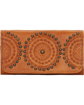 American West Womens Kachina Spirit Tri-Fold Wallet, Tan, hi-res