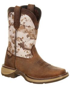 Durango Youth Boys' Rebel Desert Camo Western Boots - Square Toe, Brown, hi-res
