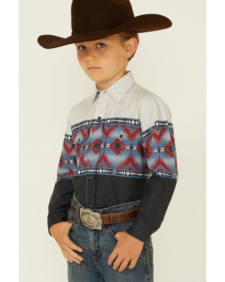Roper Boys' Aztec Blanket Border Print Long Sleeve Snap Western Shirt , Black, hi-res